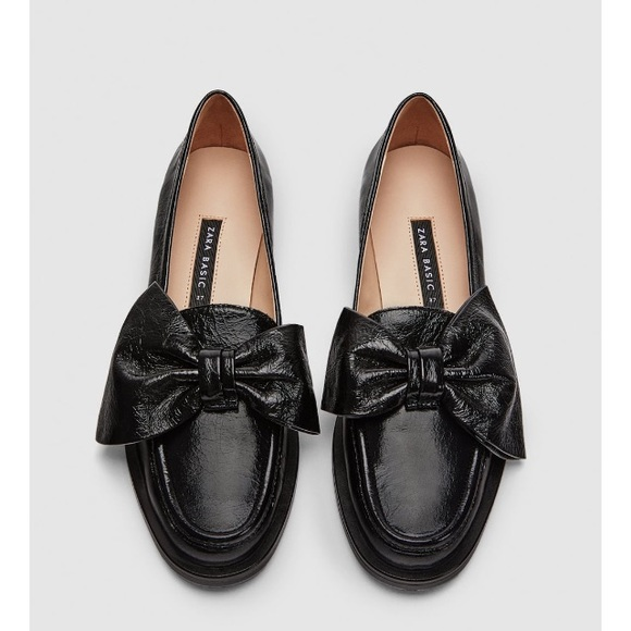 9a253d299f7 Zara black leather loafers with bow. NWT